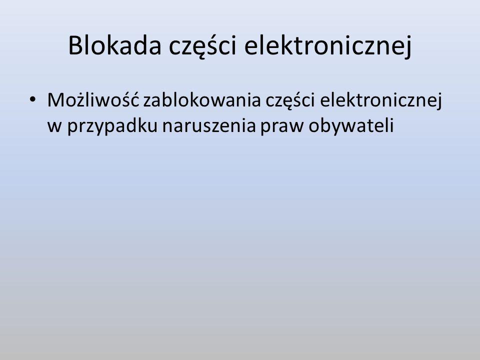 Blokada części elektronicznej