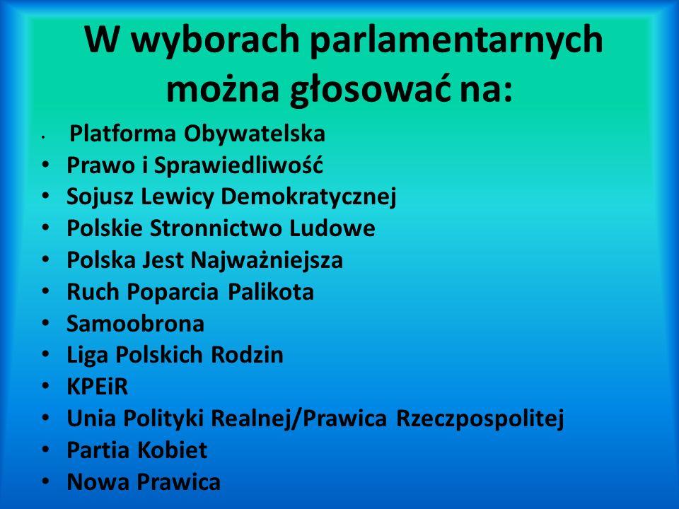 W wyborach parlamentarnych można głosować na: