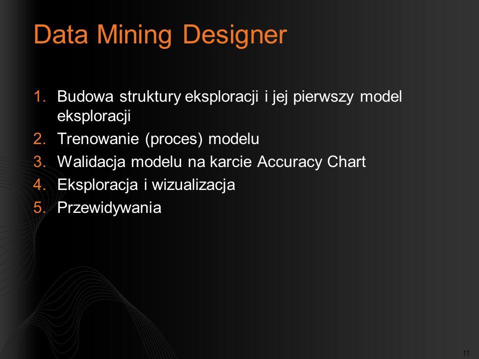 Data Mining DesignerBudowa struktury eksploracji i jej pierwszy model eksploracji. Trenowanie (proces) modelu.