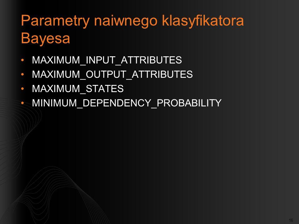 Parametry naiwnego klasyfikatora Bayesa