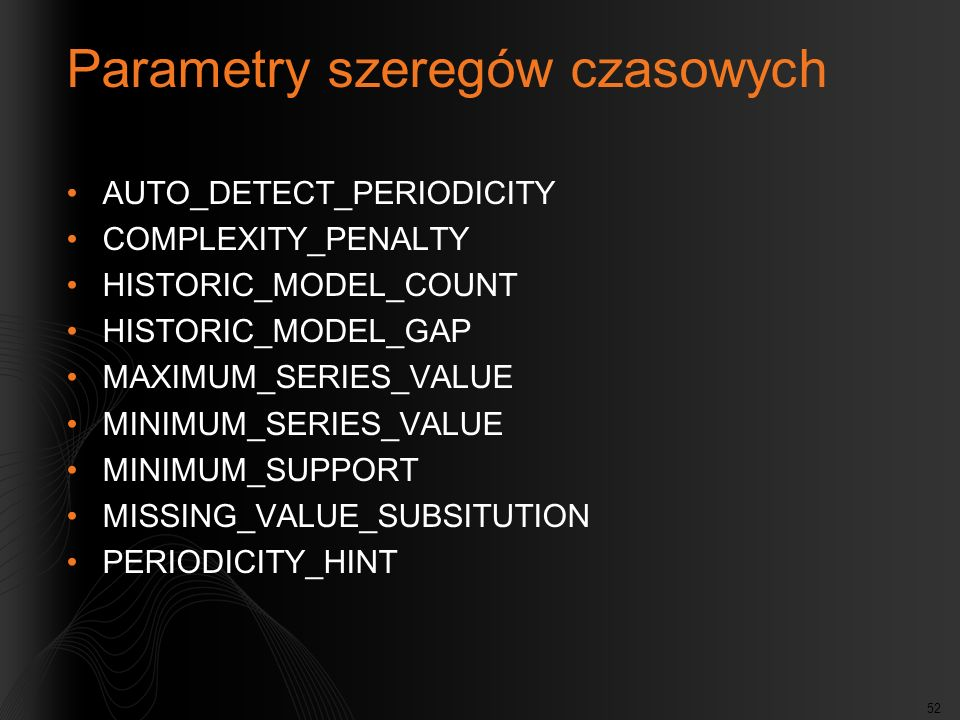 Parametry szeregów czasowych