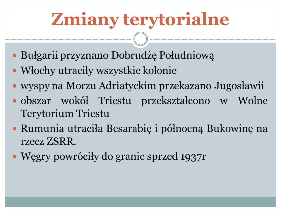 Zmiany terytorialne Bułgarii przyznano Dobrudżę Południową