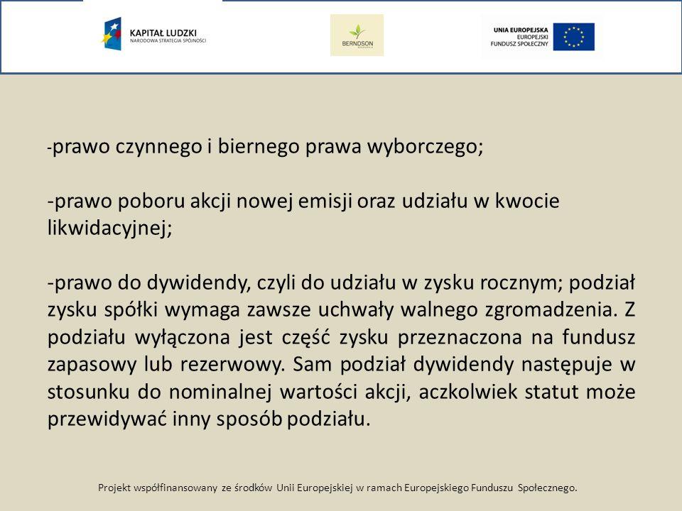 -prawo poboru akcji nowej emisji oraz udziału w kwocie likwidacyjnej;
