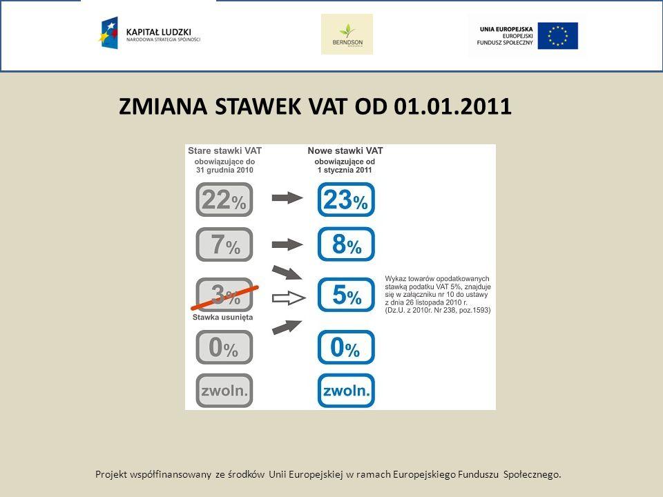 ZMIANA STAWEK VAT OD 01.01.2011 Projekt współfinansowany ze środków Unii Europejskiej w ramach Europejskiego Funduszu Społecznego.