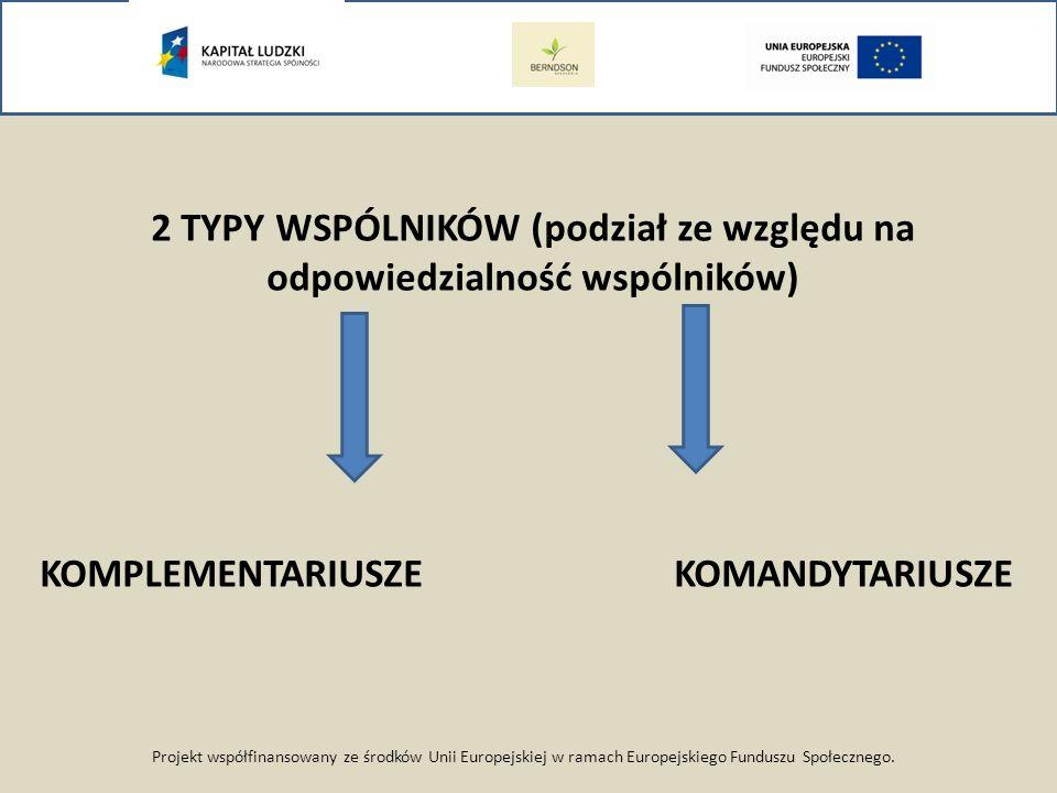 2 TYPY WSPÓLNIKÓW (podział ze względu na odpowiedzialność wspólników)