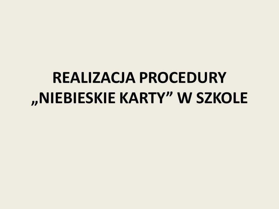 """REALIZACJA PROCEDURY """"NIEBIESKIE KARTY W SZKOLE"""