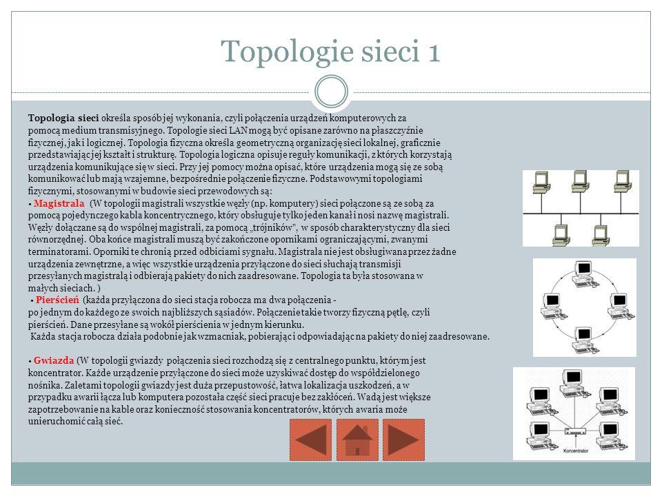 Topologie sieci 1 Topologia sieci określa sposób jej wykonania, czyli połączenia urządzeń komputerowych za.
