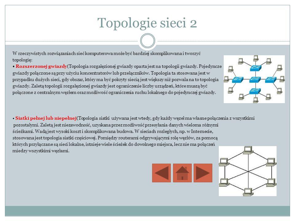Topologie sieci 2 W rzeczywistych rozwiązaniach sieć komputerowa może być bardziej skomplikowana i tworzyć.
