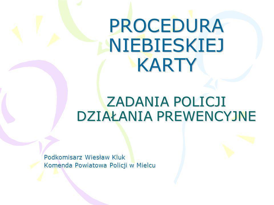 PROCEDURA NIEBIESKIEJ KARTY ZADANIA POLICJI DZIAŁANIA PREWENCYJNE