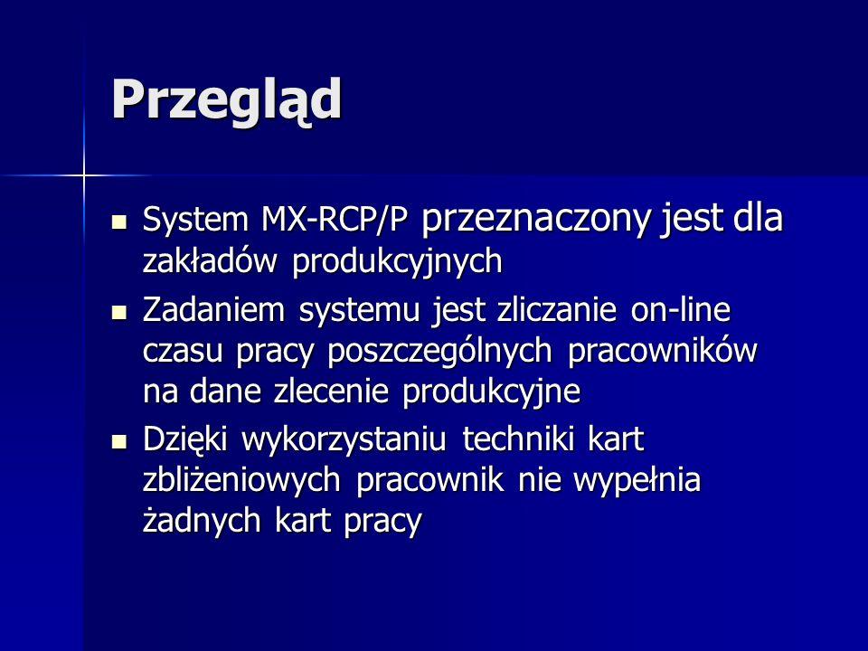 Przegląd System MX-RCP/P przeznaczony jest dla zakładów produkcyjnych