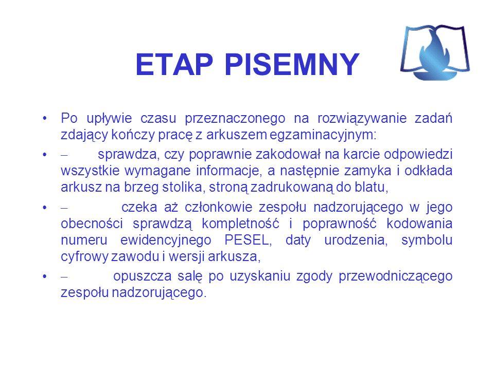 ETAP PISEMNY Po upływie czasu przeznaczonego na rozwiązywanie zadań zdający kończy pracę z arkuszem egzaminacyjnym: