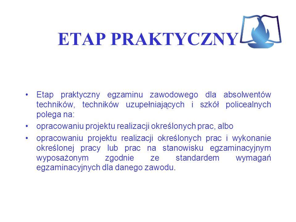 ETAP PRAKTYCZNY Etap praktyczny egzaminu zawodowego dla absolwentów techników, techników uzupełniających i szkół policealnych polega na: