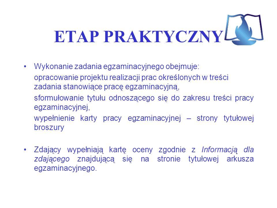 ETAP PRAKTYCZNY Wykonanie zadania egzaminacyjnego obejmuje: