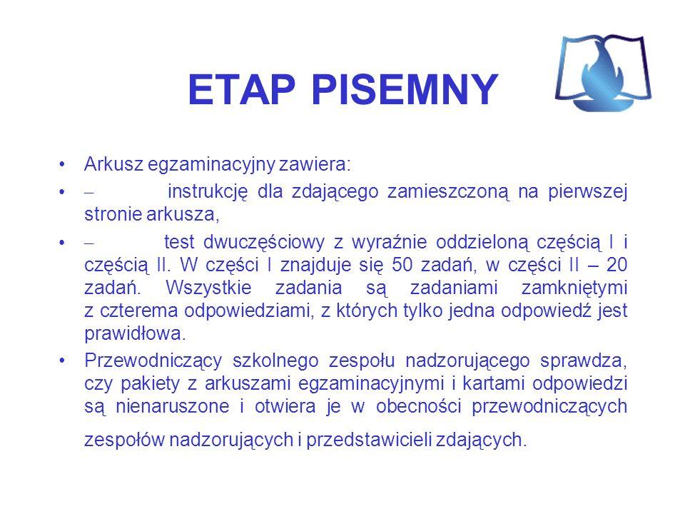 ETAP PISEMNY Arkusz egzaminacyjny zawiera:
