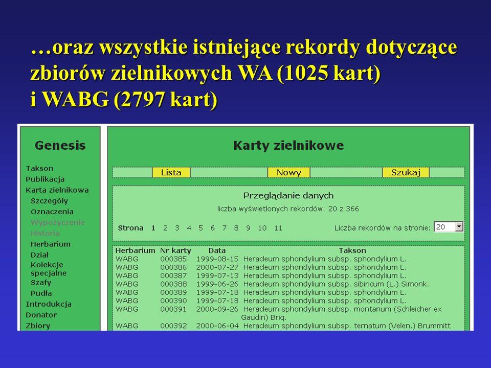 …oraz wszystkie istniejące rekordy dotyczące zbiorów zielnikowych WA (1025 kart)