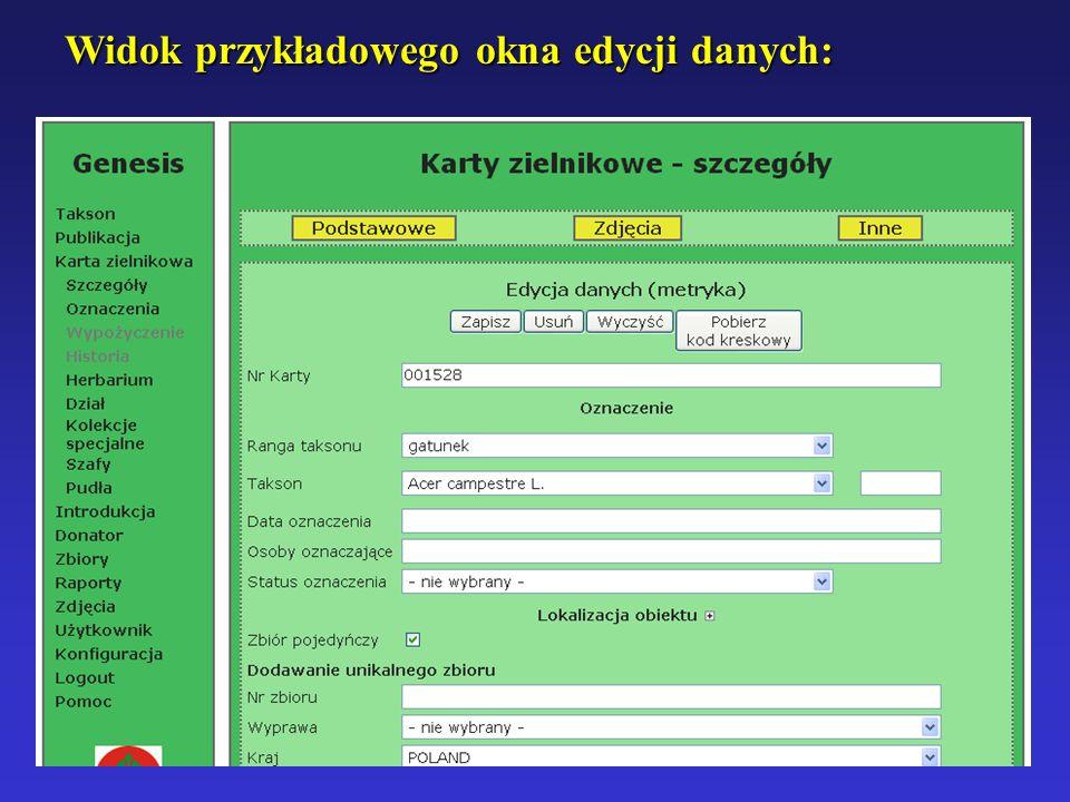 Widok przykładowego okna edycji danych: