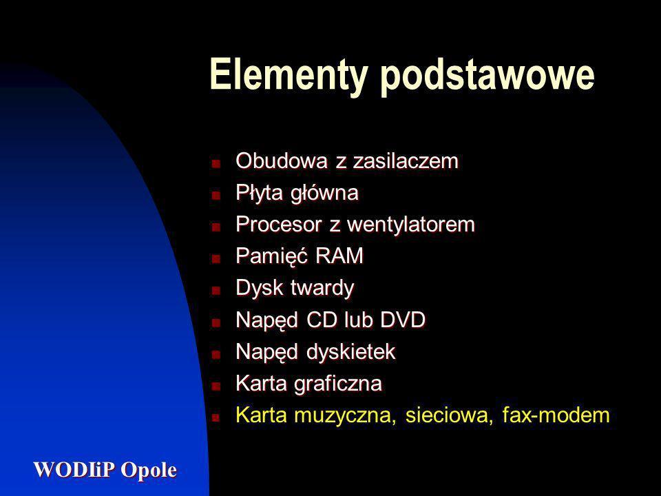 Elementy podstawowe Obudowa z zasilaczem Płyta główna