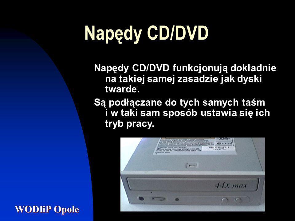 Napędy CD/DVD Napędy CD/DVD funkcjonują dokładnie na takiej samej zasadzie jak dyski twarde.