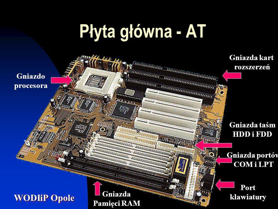 Płyta główna - AT Gniazda kart rozszerzeń Gniazdo procesora