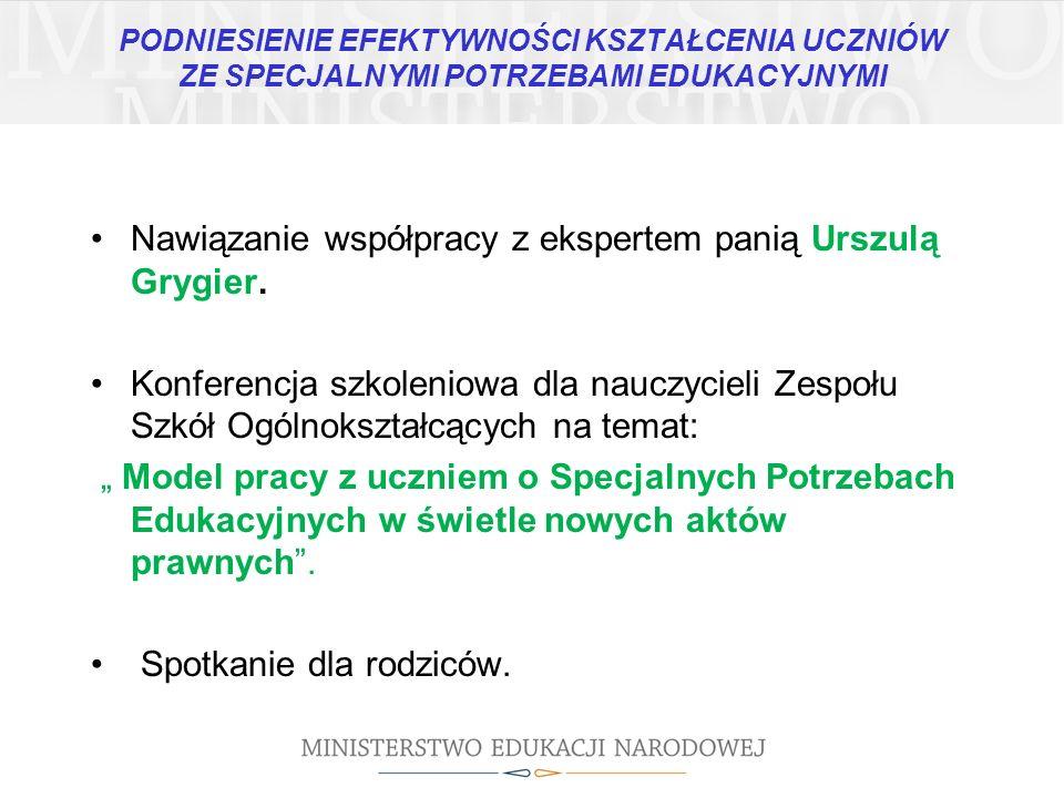 Nawiązanie współpracy z ekspertem panią Urszulą Grygier.