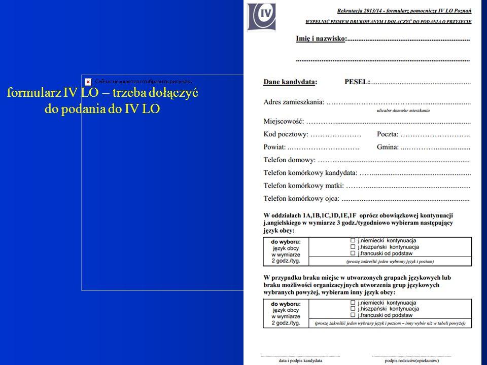 formularz IV LO – trzeba dołączyć do podania do IV LO