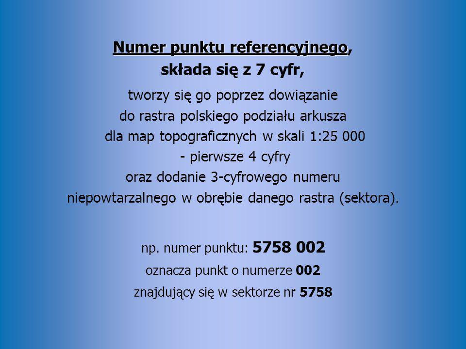 Numer punktu referencyjnego, składa się z 7 cyfr, tworzy się go poprzez dowiązanie do rastra polskiego podziału arkusza dla map topograficznych w skali 1:25 000 - pierwsze 4 cyfry oraz dodanie 3-cyfrowego numeru niepowtarzalnego w obrębie danego rastra (sektora).