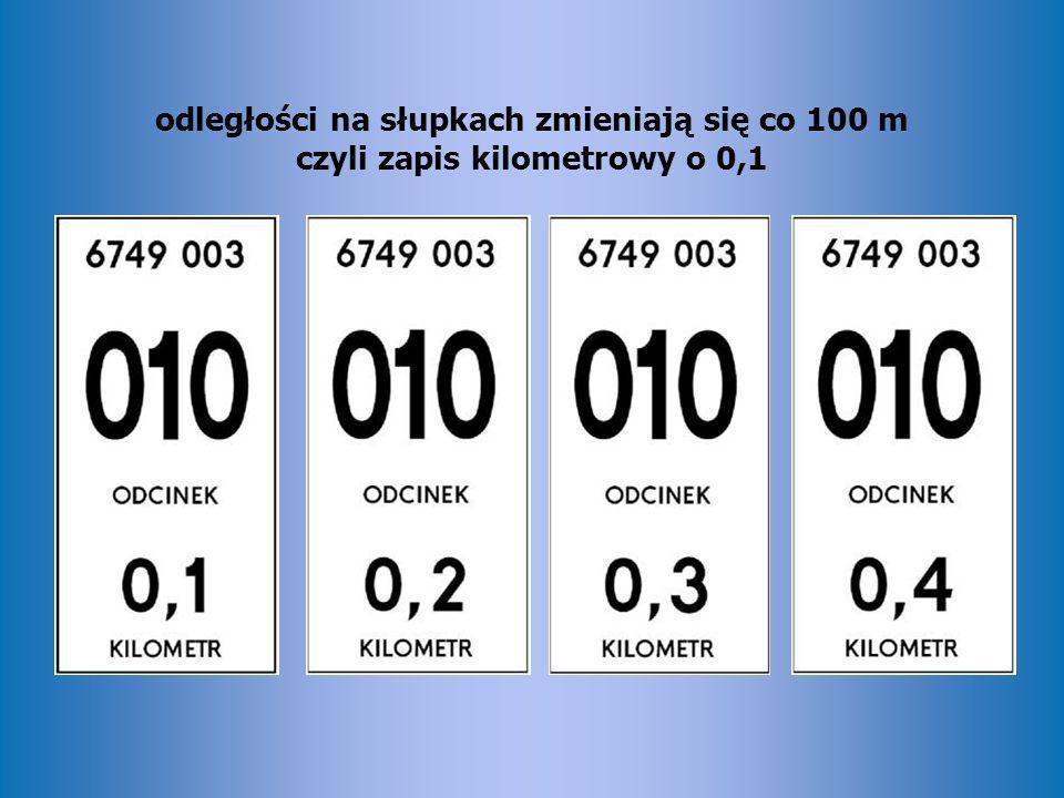 odległości na słupkach zmieniają się co 100 m czyli zapis kilometrowy o 0,1