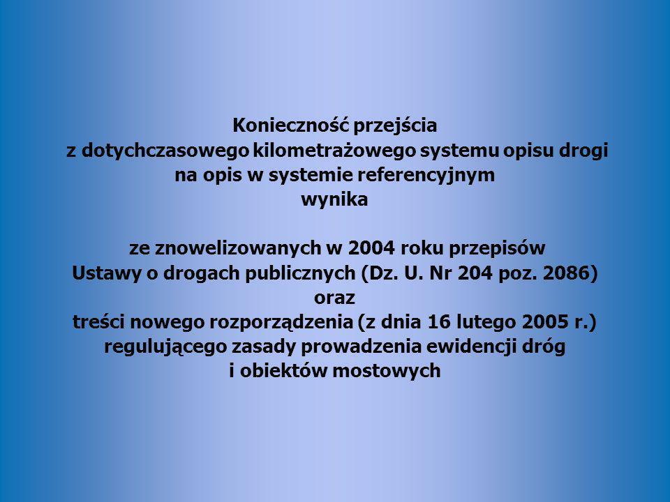 Konieczność przejścia z dotychczasowego kilometrażowego systemu opisu drogi na opis w systemie referencyjnym wynika ze znowelizowanych w 2004 roku przepisów Ustawy o drogach publicznych (Dz.