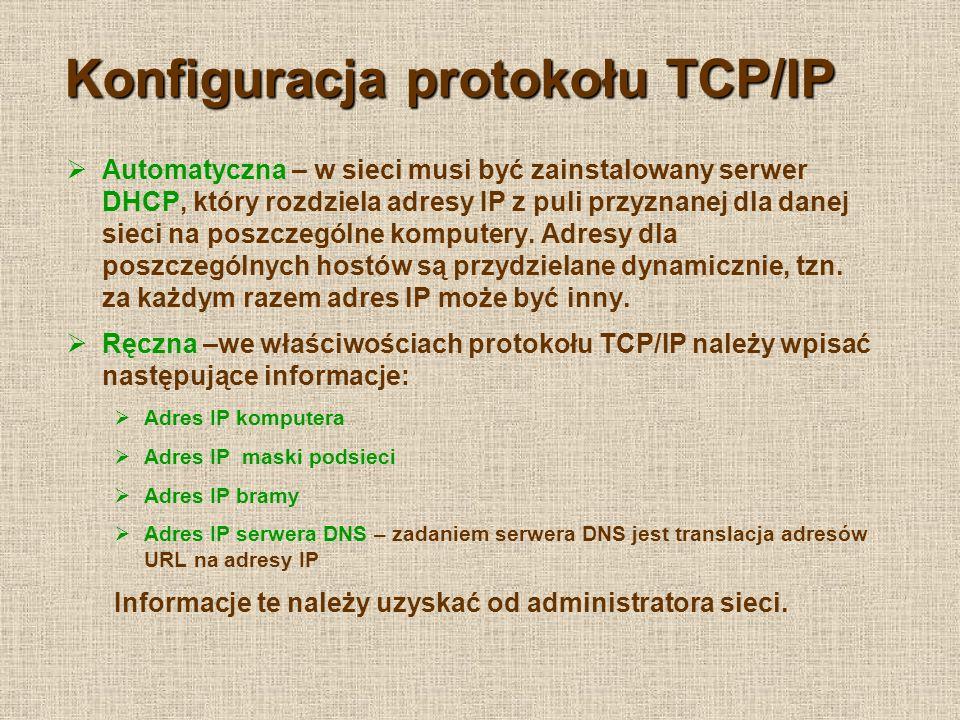 Konfiguracja protokołu TCP/IP
