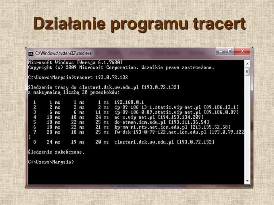 Działanie programu tracert