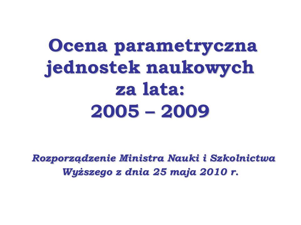 Ocena parametryczna jednostek naukowych za lata: 2005 – 2009 Rozporządzenie Ministra Nauki i Szkolnictwa Wyższego z dnia 25 maja 2010 r.