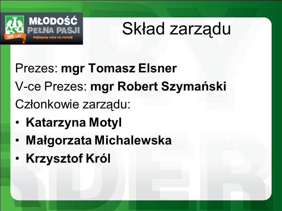 Skład zarządu Prezes: mgr Tomasz Elsner