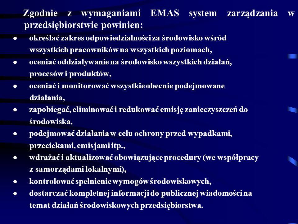 Zgodnie z wymaganiami EMAS system zarządzania w przedsiębiorstwie powinien: