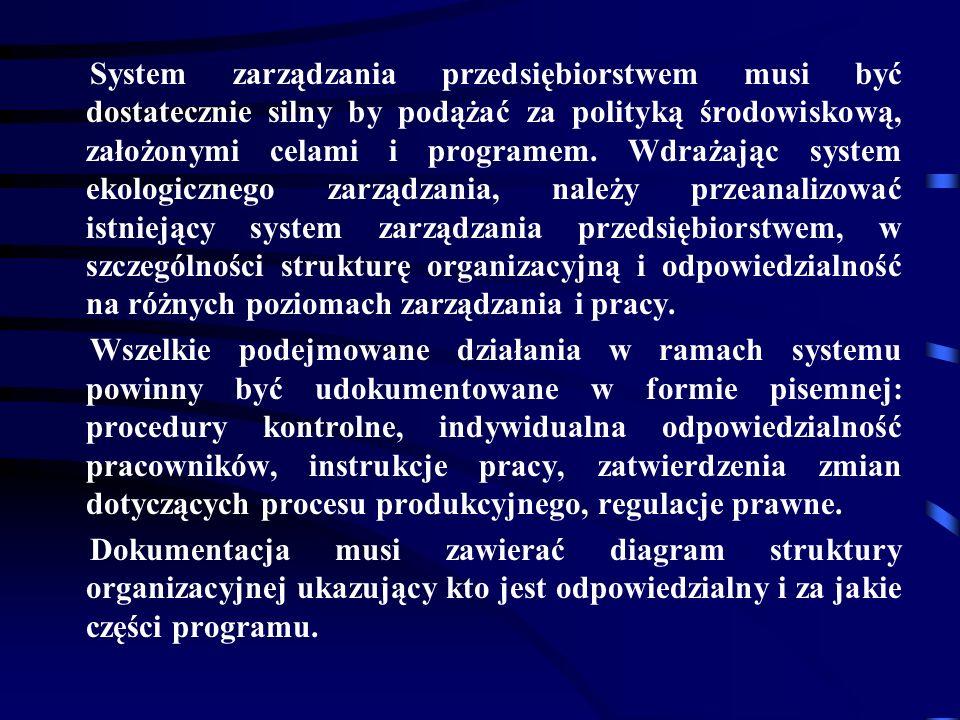 System zarządzania przedsiębiorstwem musi być dostatecznie silny by podążać za polityką środowiskową, założonymi celami i programem. Wdrażając system ekologicznego zarządzania, należy przeanalizować istniejący system zarządzania przedsiębiorstwem, w szczególności strukturę organizacyjną i odpowiedzialność na różnych poziomach zarządzania i pracy.