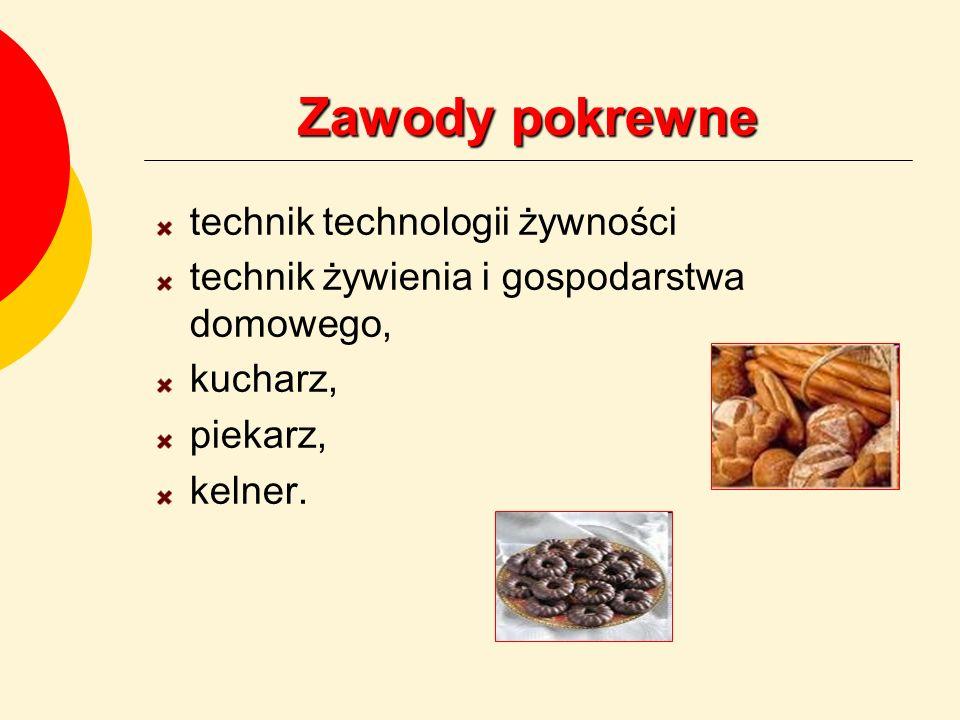 Zawody pokrewne technik technologii żywności