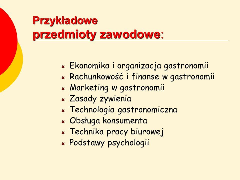 Przykładowe przedmioty zawodowe: