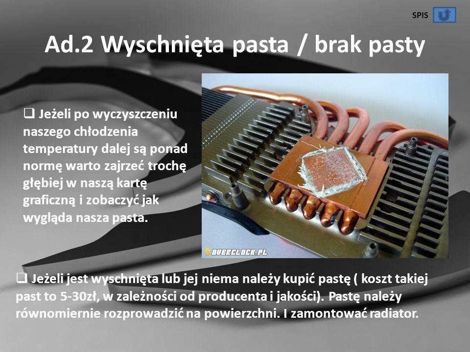 Ad.2 Wyschnięta pasta / brak pasty