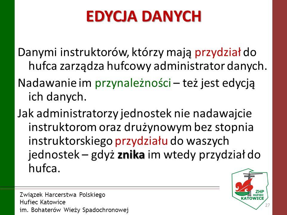 EDYCJA DANYCH Danymi instruktorów, którzy mają przydział do hufca zarządza hufcowy administrator danych.