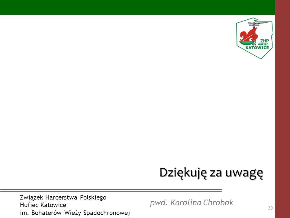 Dziękuję za uwagę pwd. Karolina Chrobok Związek Harcerstwa Polskiego