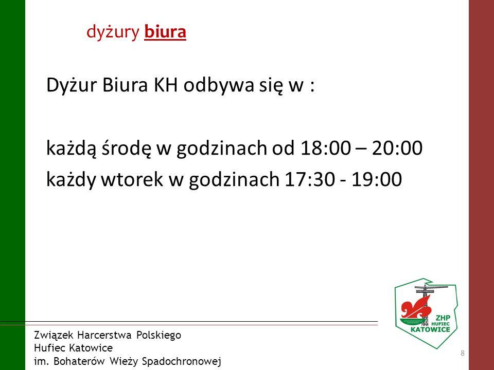 dyżury biura Dyżur Biura KH odbywa się w : każdą środę w godzinach od 18:00 – 20:00 każdy wtorek w godzinach 17:30 - 19:00