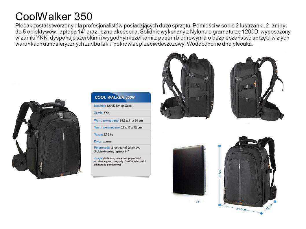 CoolWalker 350 Plecak został stworzony dla profesjonalistów posiadających dużo sprzętu.