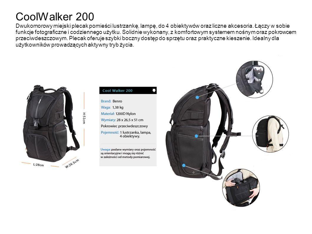 CoolWalker 200 Dwukomorowy miejski plecak pomieści lustrzankę, lampę, do 4 obiektywów oraz liczne akcesoria.
