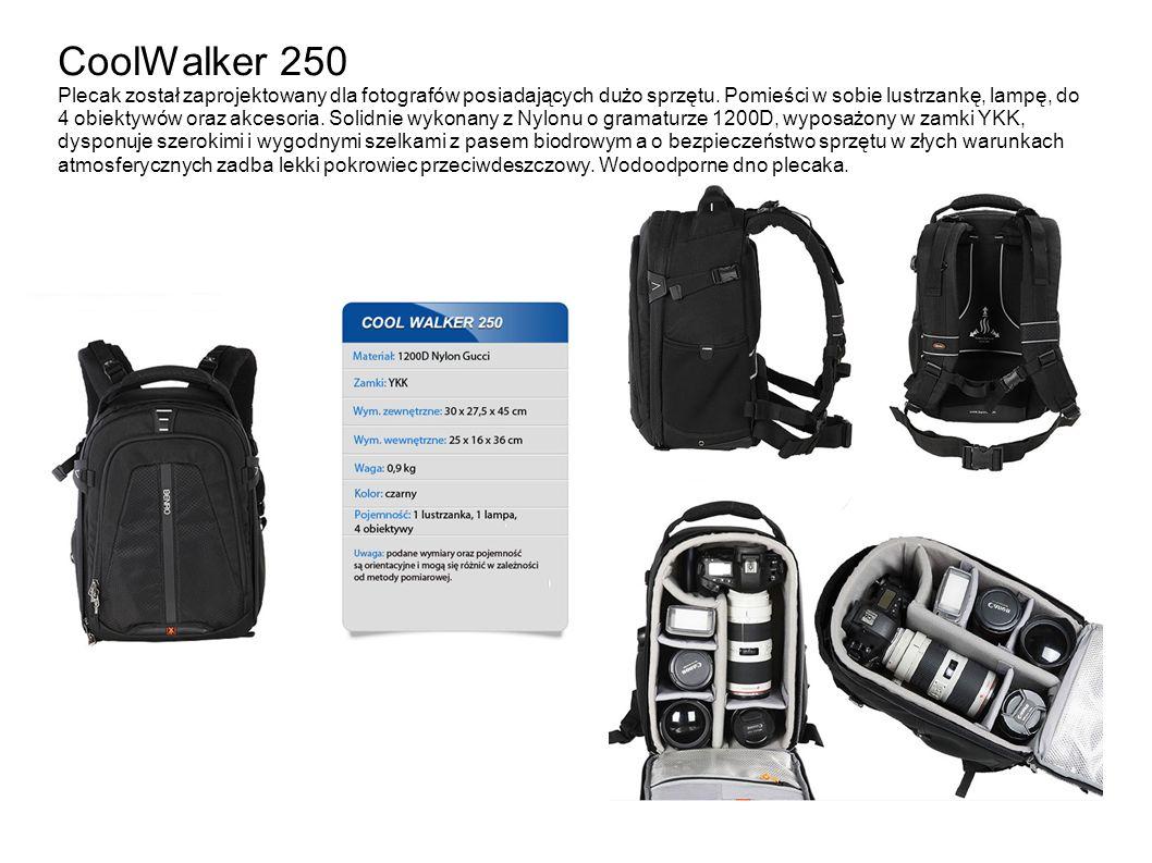CoolWalker 250 Plecak został zaprojektowany dla fotografów posiadających dużo sprzętu.