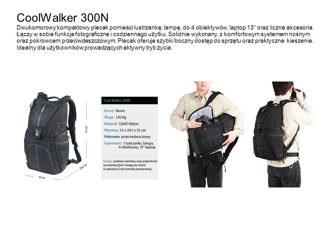 CoolWalker 300N Dwukomorowy kompaktowy plecak pomieści lustrzankę, lampę, do 4 obiektywów, laptop 13 oraz liczne akcesoria.