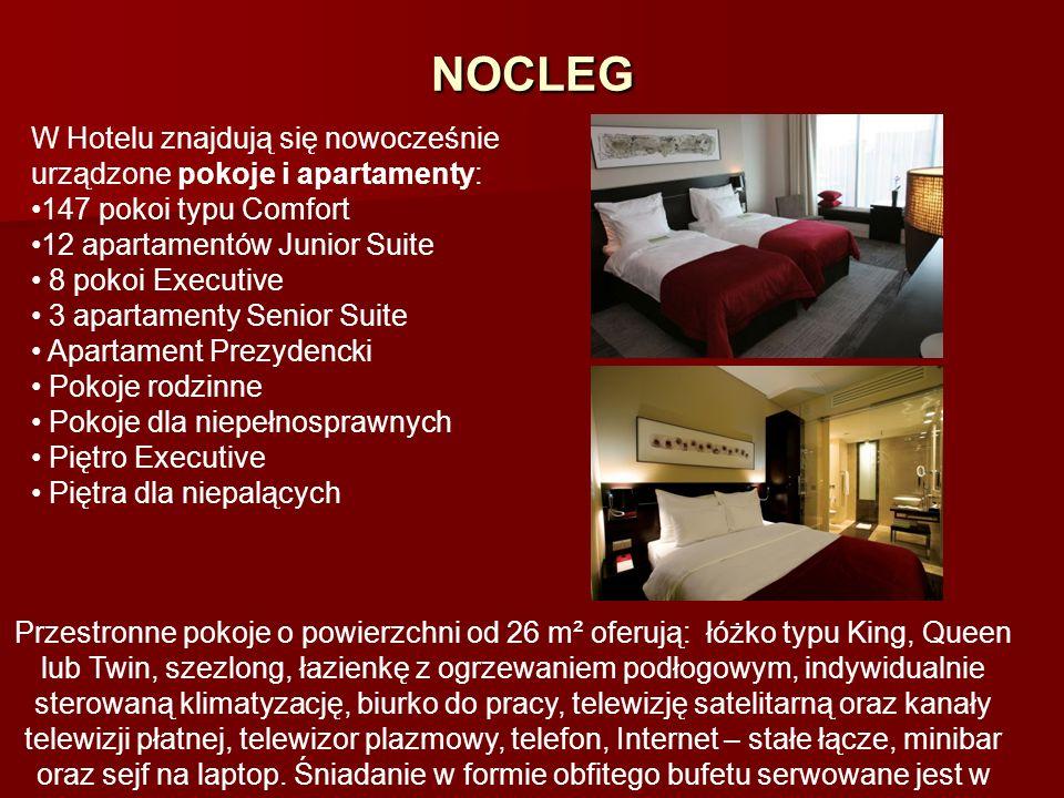 NOCLEGW Hotelu znajdują się nowocześnie urządzone pokoje i apartamenty: 147 pokoi typu Comfort. 12 apartamentów Junior Suite.
