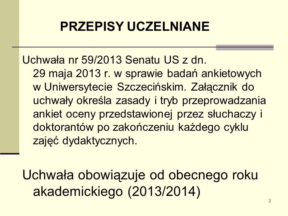 Uchwała obowiązuje od obecnego roku akademickiego (2013/2014)