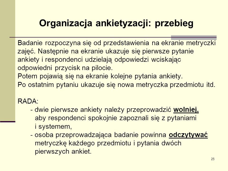 Organizacja ankietyzacji: przebieg