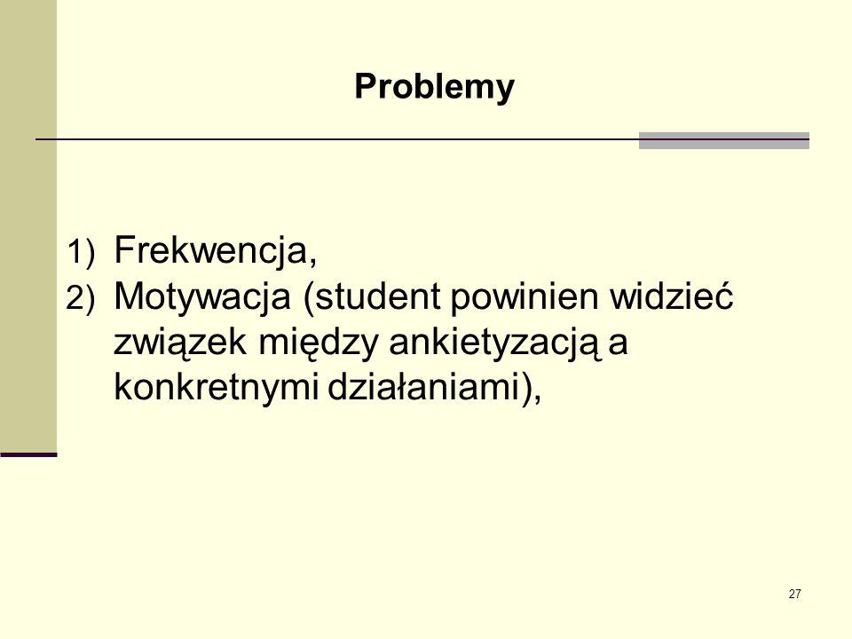 Problemy Frekwencja, Motywacja (student powinien widzieć związek między ankietyzacją a konkretnymi działaniami),