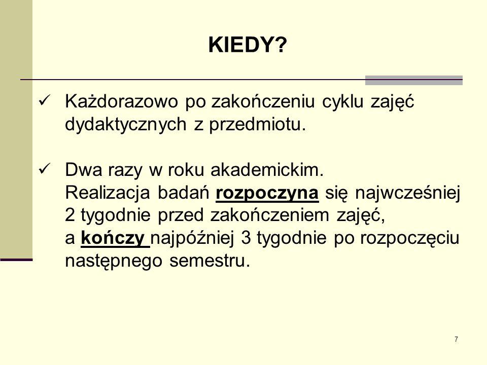KIEDY Każdorazowo po zakończeniu cyklu zajęć dydaktycznych z przedmiotu. Dwa razy w roku akademickim.