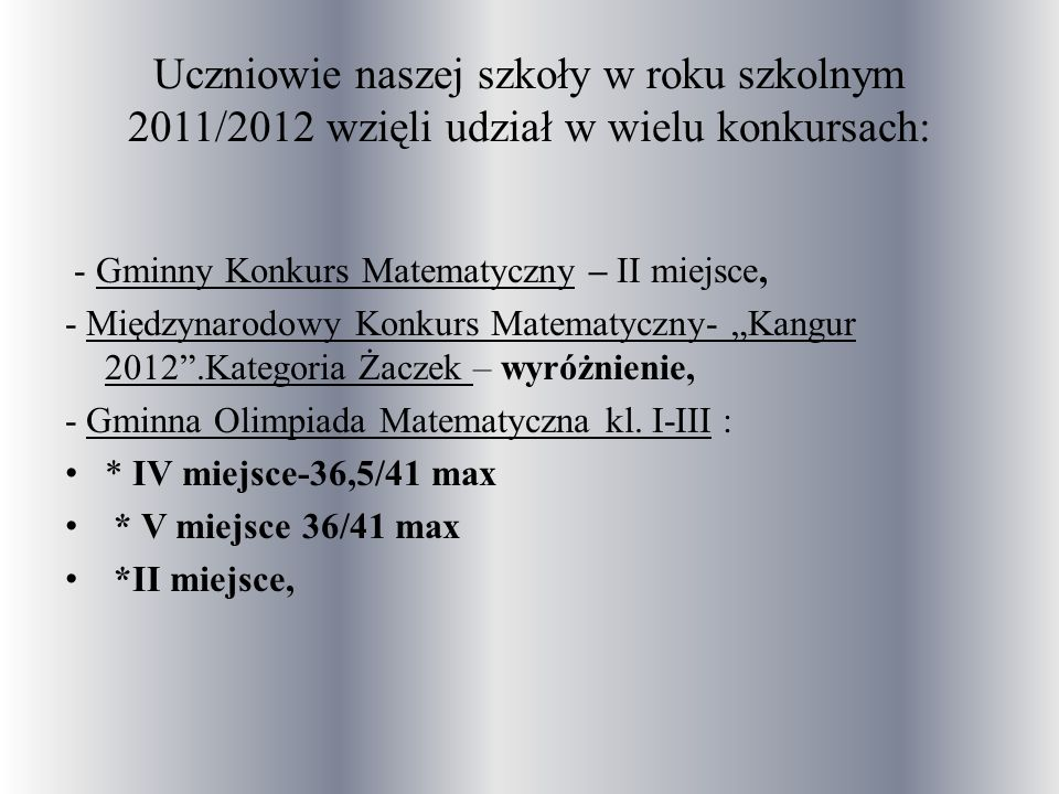 Uczniowie naszej szkoły w roku szkolnym 2011/2012 wzięli udział w wielu konkursach: